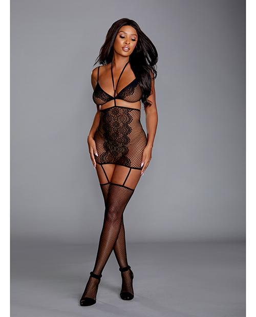 Fishnet & Lace 2 pc Garter Dress